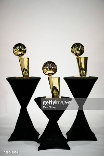 The Golden State Warriors' three Larry O'Brien NBA Championship Trophies on display during the Golden State Warriors media day on September 24 2018...