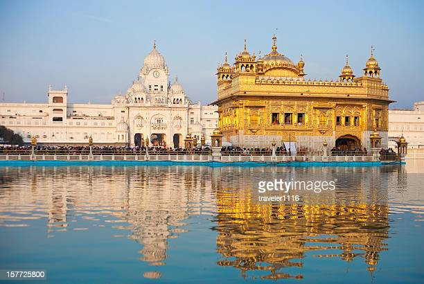 the golden temple in amritsar, india - golden temple india stock photos and pictures