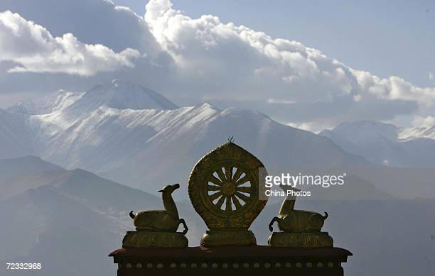 The golden top of the Drepung Monastery is seen on October 30 2006 in Lhasa of Tibet Autonomous Region China Chinese tourists are flooding into Tibet...