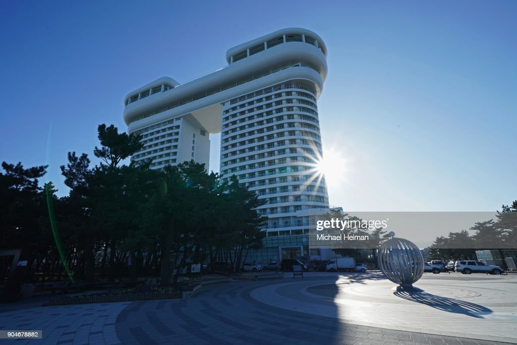 The Golden Tulip Skybay Hotel is seen on Gyeongpo Beach in Gangneung ahead of the Pyeongchang 2018 Winter Olympics on January 12, 2018 in Pyeongchang-gun, South Korea.