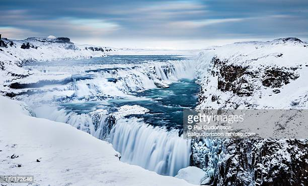 the golden waterfall - gullfoss, southern iceland - gullfoss falls stock photos and pictures