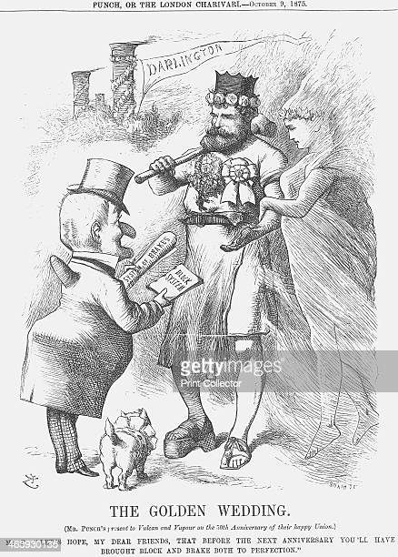 'The Golden Wedding' 1875 Iron represented by Vulcan and steam represented by Vapour are congratulated by Mr Punch on their 50 harmonious years This...
