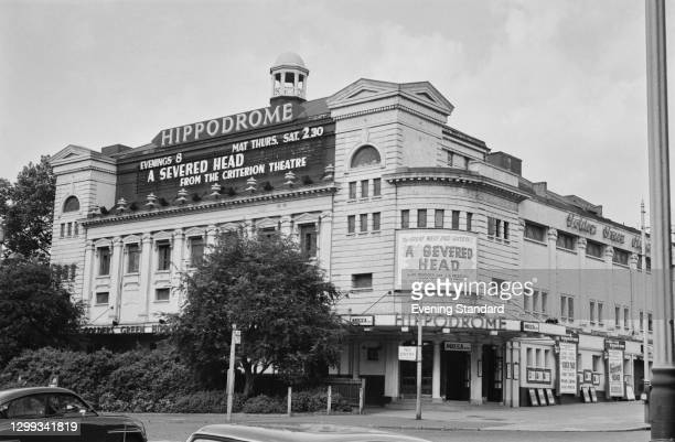 The Golders Green Hippodrome in north London, UK, June 1966. It is showing the play 'A Severed Head' by Iris Murdoch and JB Priestley.