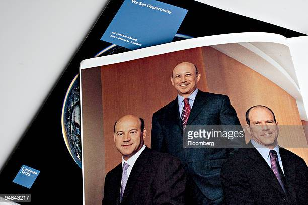The Goldman Sachs Group Inc executives from right Gary Cohn president and cochief operating officer Lloyd Blankfein chairman and chief executive...