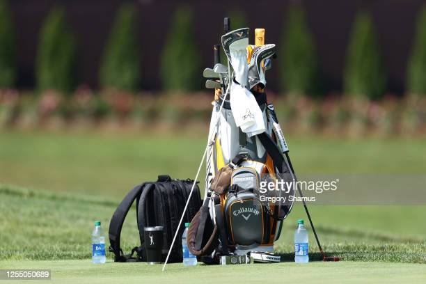 The golf bag of Phil Mickelson of the United States on the putting green prior to a practice round for the Workday Charity Open at Muirfield Village...