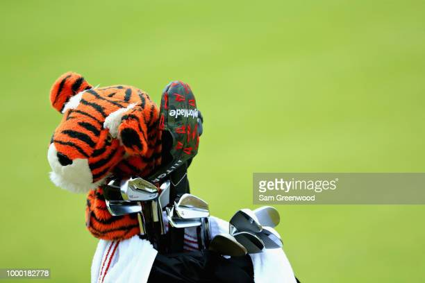 The golf club bag of Tiger Woods of United States is seen on the course during previews ahead of the 147th Open Championship at Carnoustie Golf Club...