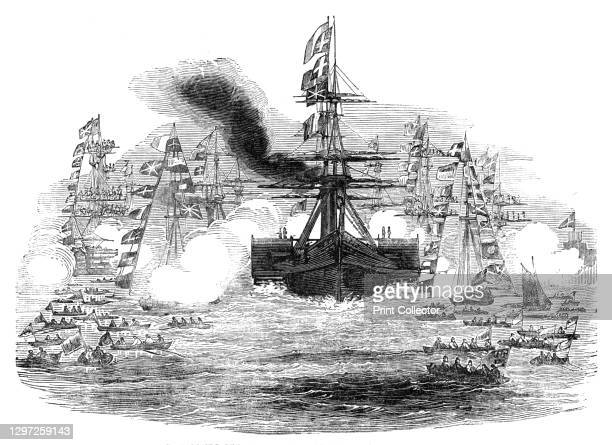 The Gomer Steamer coming into Portsmouth Harbour, 1844. Visit of the French king Louis Philippe to Britain: 'The French squadron came on slowly and...
