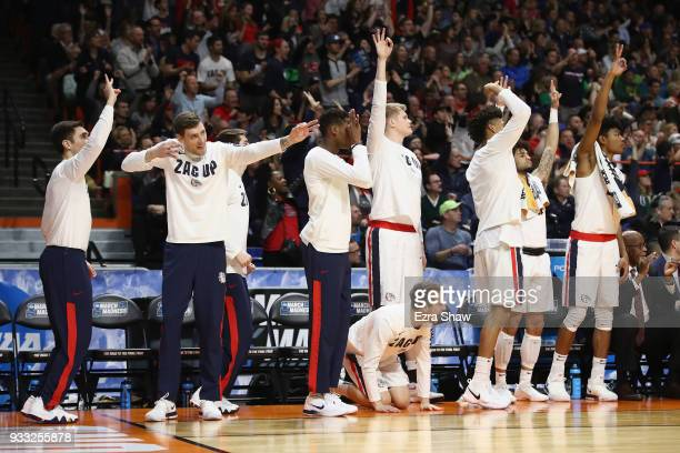The Gonzaga Bulldogs bench reacts during the first half against the Ohio State Buckeyes in the second round of the 2018 NCAA Men's Basketball...