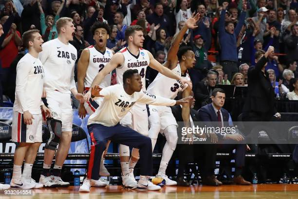 The Gonzaga Bulldogs bench reacts during the second half against the Ohio State Buckeyes in the second round of the 2018 NCAA Men's Basketball...