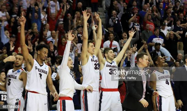 The Gonzaga Bulldogs celebrate late in their 83 to 59 win over the Xavier Musketeers during the 2017 NCAA Men's Basketball Tournament West Regional...