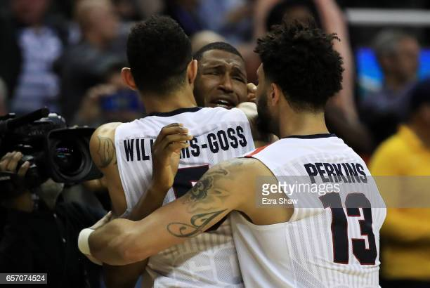The Gonzaga Bulldogs celebrate their 61 to 58 win over the West Virginia Mountaineers during the 2017 NCAA Men's Basketball Tournament West Regional...