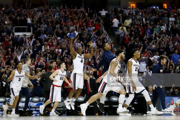 The Gonzaga Bulldogs celebrate their 83 to 59 win over the Xavier Musketeers during the 2017 NCAA Men's Basketball Tournament West Regional at SAP...