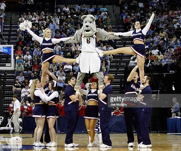 The Gonzaga Bulldogs cheerleaders perform during a break in the action against the North Carolina Tar Heels during the NCAA Men's Basketball...