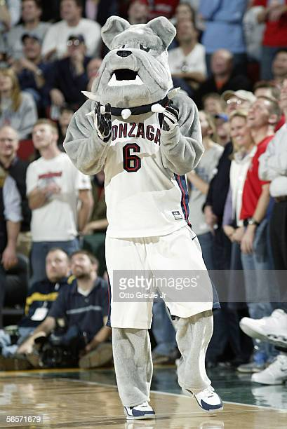 The Gonzaga Bulldogs mascot performs during the game with the Oklahoma State Cowboys at Key Arena on December 10 2005 in Seattle Washington Gonzaga...