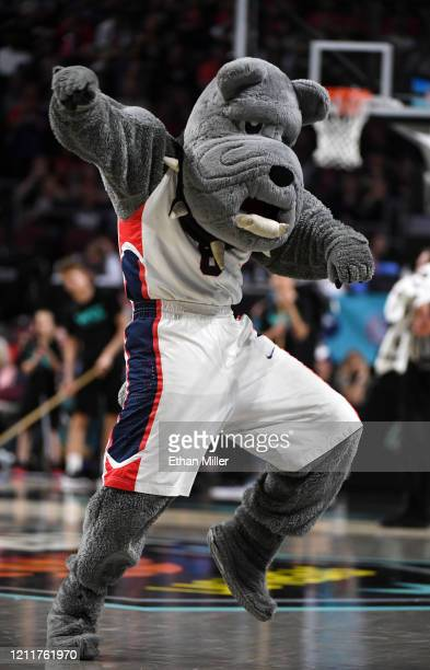 The Gonzaga Bulldogs mascot Spike the Bulldog performs during the team's game against the Saint Mary's Gaels during the championship game of the West...