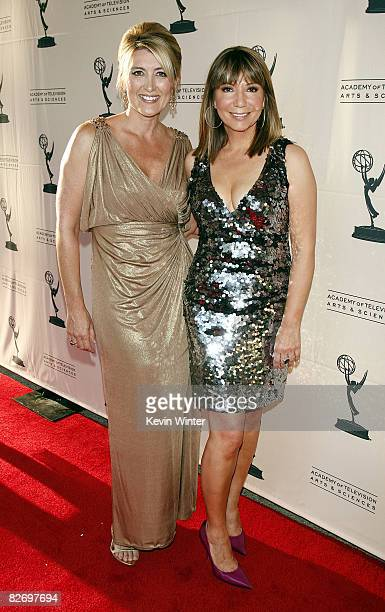 The Good News Foundation's Wendy Burch and NBC 4 newscaster Ana Garcia arrive at the 60th Annual Los Angeles Area Emmy Awards at the Leonard H...