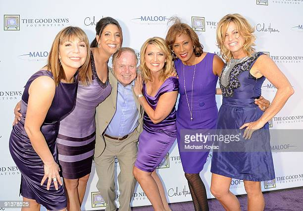 The Good News Girls including Reporters Ana Garcia Christine Devine Wendy Burch Pat Harvey and Dorothy Lucey appear with former Los Angeles Mayor...