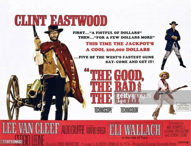 The Good poster THE BAD AND THE UGLY Clint Eastwood right top to bottom Lee Van Cleef Eli Wallach 1966