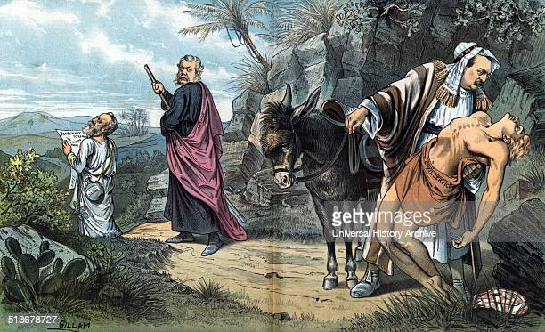 The good Samaritan' Rutherford B Hayes Chester A Arthur and Grover Cleveland as pilgrims on a journey through rugged Middle Eastern landscape Hayes...