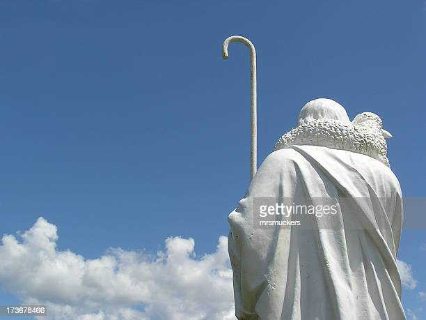the good shepherd – a cemetery statue - jesus the good shepherd stock pictures, royalty-free photos & images