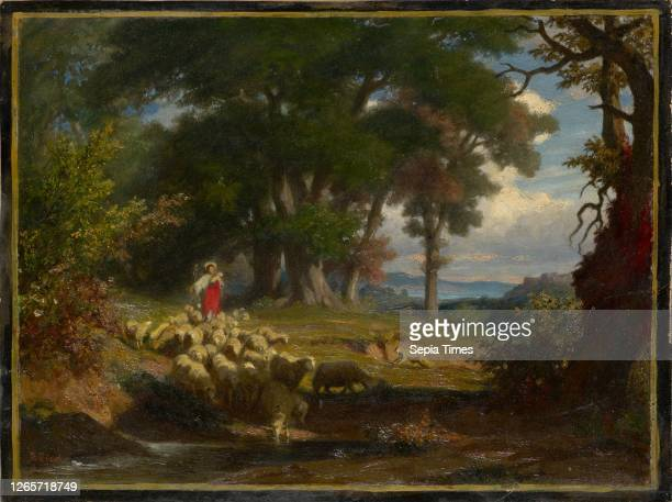 The Good Shepherd, c. 1867-1872, oil on board, 26 x 34.5 cm, signed lower left: R Zünd, Robert Zünd, Luzern 1827–1909 Luzern.