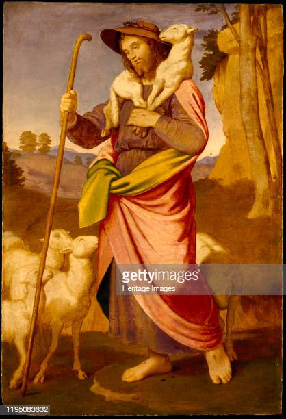 The Good Shepherd, Early 1860s. Found in the Collection of Thorvaldsens Museum, Copenhagen. Artist Overbeck, Johann Friedrich .