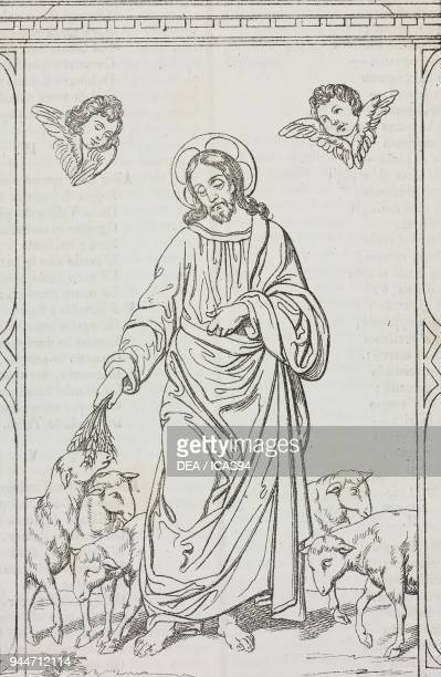 The Good Shepherd fresco in the Basilica of St John Lateran Rome Italy lithograph by Gaetano Riccio from Poliorama Pittoresco n 21 January 1 1842