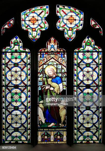 The Good Shepherd stained glass window Church of Saint Mary Mendlesham Suffolk England UK