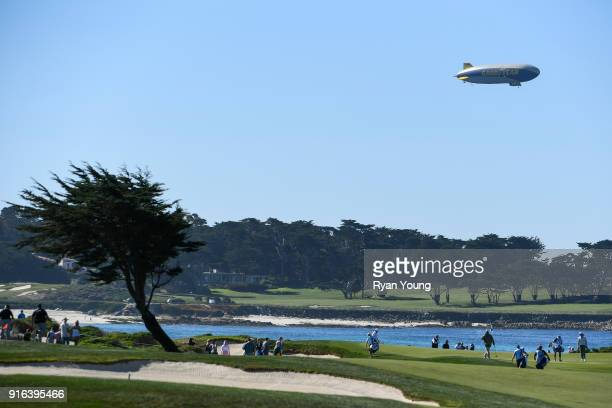 The Goodyear blimp hovers above the action during the second round of the ATT Pebble Beach ProAm at Pebble Beach Golf Links on February 9 2018 in...