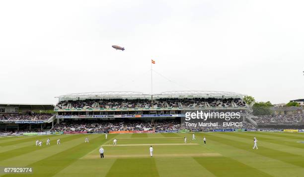 The Goodyear Blimp over Lords' Cricket Ground as England take on the West Indies