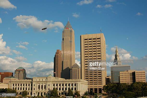 CONTENT] The Goodyear blimp soars above Public Square in downtown Cleveland as seen from the steps of the Rock and Roll Hall of Fame on the shore of...