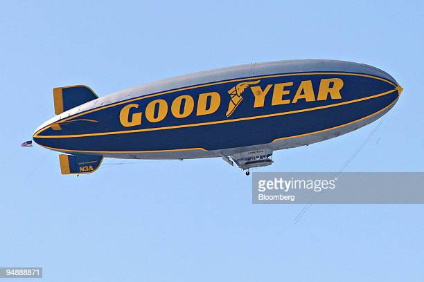 """The Goodyear Tire & Co. """"Spirit of Goodyear"""" airship flies near Goodyear's headquarters in Akron, Ohio, U.S., on Saturday, Feb. 23, 2008. After..."""