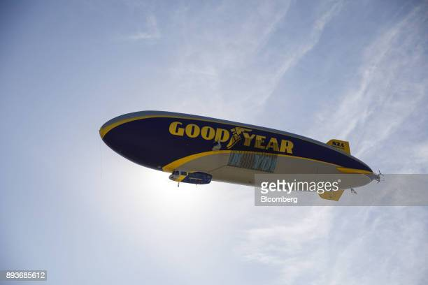 The Goodyear Tire Rubber Co Wingfoot Two blimp arrives at the company's airship base in Carson California US on Friday Dec 15 2017 Goodyear Blimps...