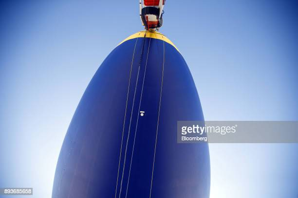 The Goodyear Tire Rubber Co Wingfoot Two blimp stands at the company's airship base in Carson California US on Friday Dec 15 2017 Goodyear Blimps...