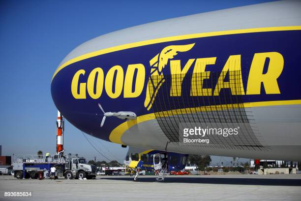 The Goodyear Tire Rubber Co Wingfoot Two blimp stands docked after landing at the company's airship base in Carson California US on Friday Dec 15...