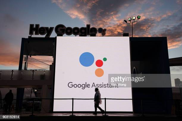 The Google booth which was closed on the first day of CES 2018 at the Las Vegas Convention Center is seen after an overnight rainy weather on January...