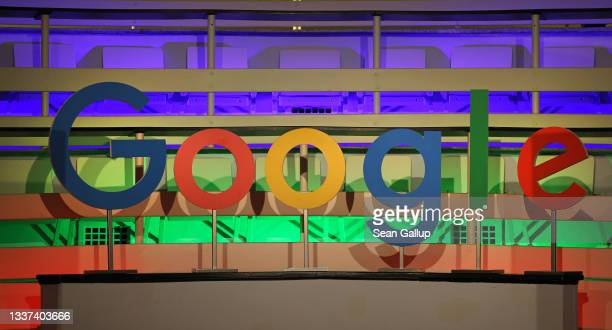 The Google corporate logo hangs at the Google Germany offices on August 31, 2021 in Berlin, Germany. Google has announced it will invest EUR one...