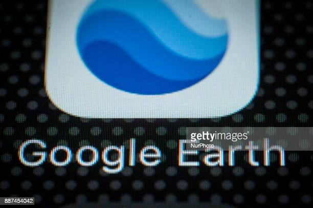 The Google Earth application is seen on a portable device in this photo illustration on December 6 2017