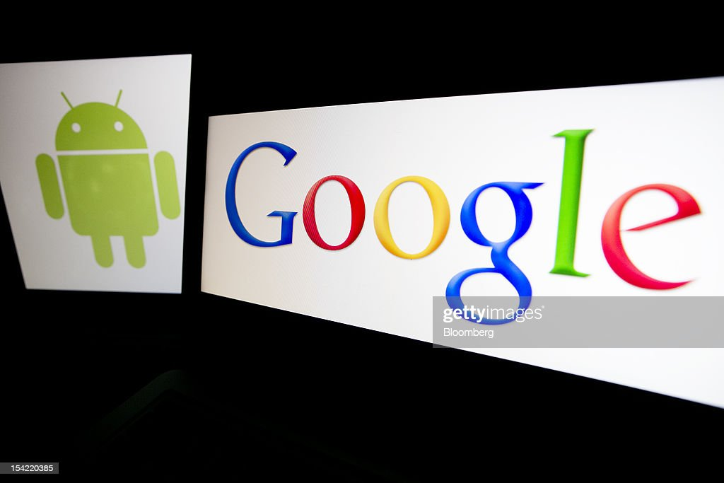 The Google Inc. and Android logos are displayed on computer screens for a photograph in Washington, D.C., U.S., on Monday, Oct. 15, 2012. Google Inc. is scheduled to release earnings data on Oct. 18. Photographer: Andrew Harrer/Bloomberg via Getty Images