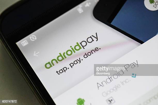 The Google Inc Android Pay application is displayed for a photograph on a smartphone in Hong Kong China on Tuesday Nov 1 2016 The urgency to prepare...