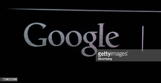 The Google Inc logo is displayed at the launch of Samsung Electronics Co's Galaxy Nexus smartphone running Google's Ice Cream Sandwich Android...