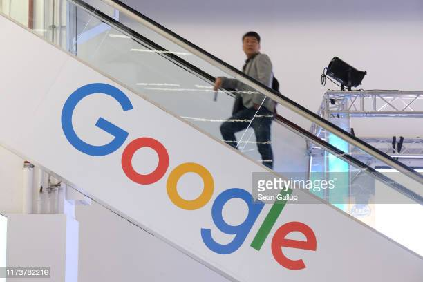 The Google logo adorns an escalator during the press days at the 2019 IAA Frankfurt Auto Show on September 11 2019 in Frankfurt am Main Germany The...