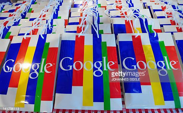 The Google logo can be seen on bags during a press conference on November 18 2010 in Hamburg on the launch of Google's street info service 'Street...