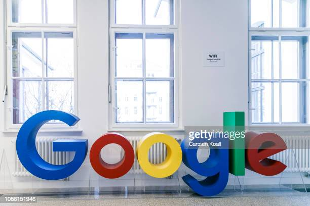 The Google logo is on display during the press tour before the festive opening of the Berlin representation of Google Germany on January 22 2019 in...