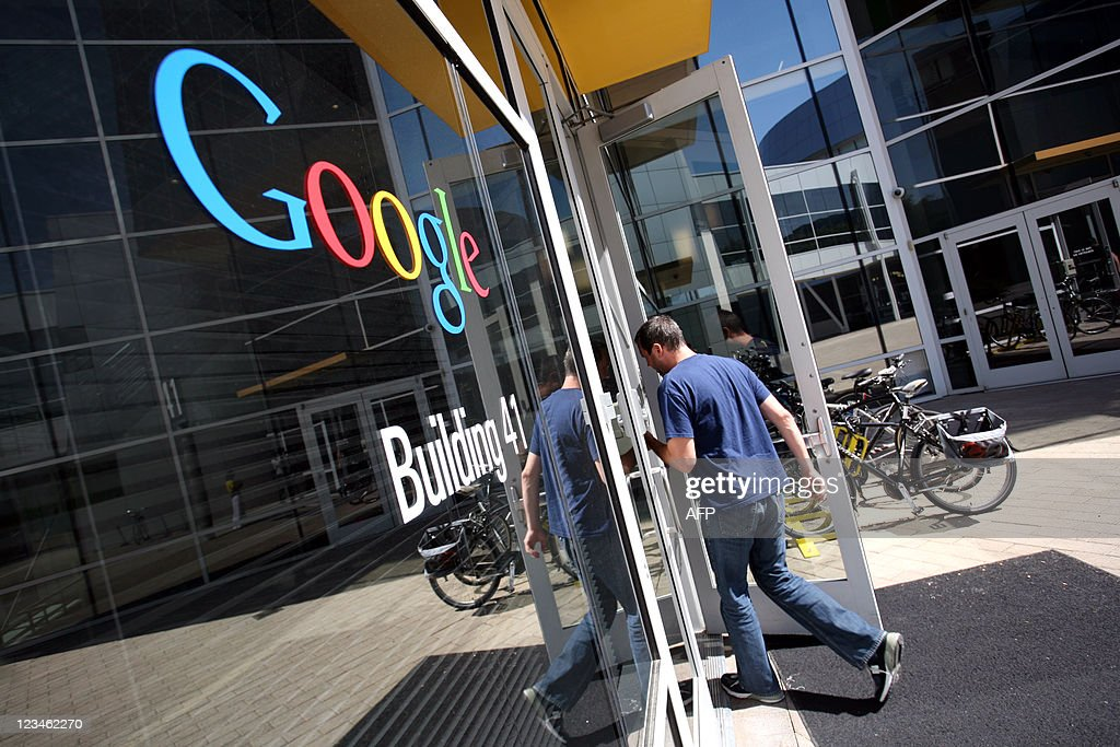 The Google logo is seen at the Google he : News Photo
