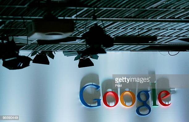 The Google logo is seen before the Google Nexus One Android smart phone unveiling at Google's headquarters January 5 2010 in Mountain View California...