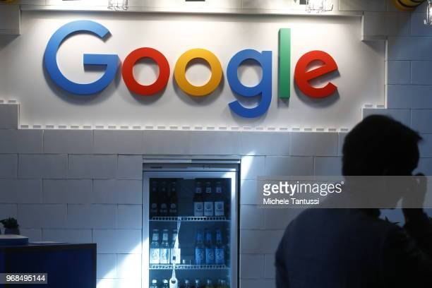 The Google logo stands on display at the 2018 NOAH conference on June 6 2018 in Berlin Germany The annual conference brings together established...