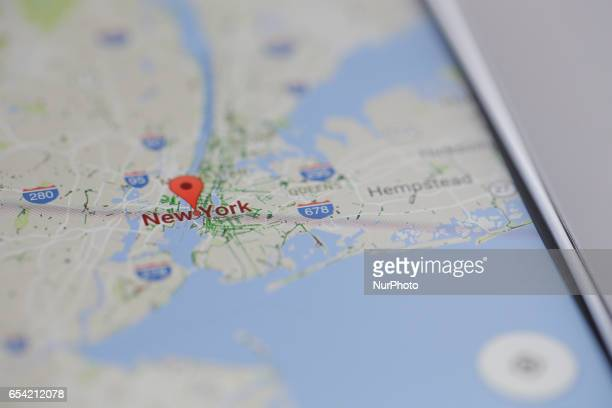 The Google Maps app is seen displaying part of the Manhatten district of New York City on an iPhone on 16 March 2017
