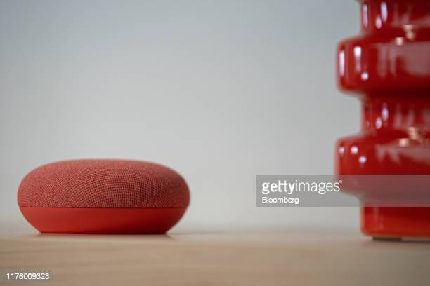 The Google Nest Mini speaker is displayed during the Made by Google event in New York US on Tuesday Oct 15 2019 Google is going back to basics for...