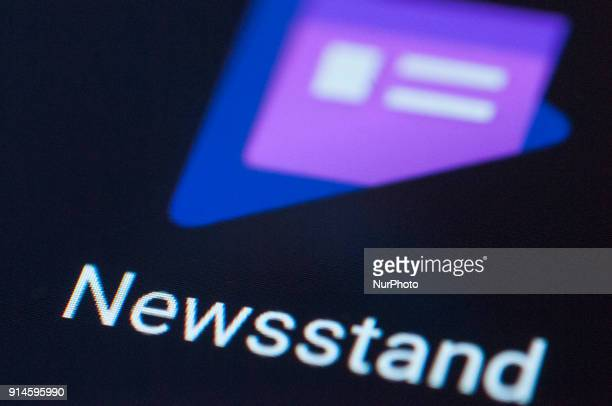 The Google news aggregation app Newsstand is seen on an Android portable device on February 5 2018
